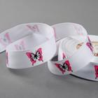 """Лента репсовая """"Бабочки"""", 25мм, 22±1м, цвет белый/розовый"""