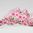 """Лента репсовая """"Розы"""", 25мм, 18±1м, цвет белый/розовый"""