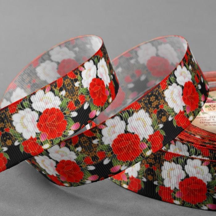 Лента репсовая «Цветы», 25 мм, 18 ± 1 м, цвет чёрный/красный