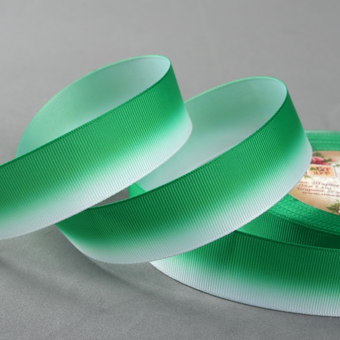 Лента репсовая «Градиент», 25 мм, 18 ± 1 м, цвет зелёный