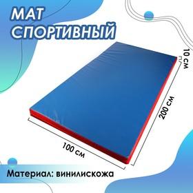 Мат 200 х 100 х 10 см, винилискожа, цвет синий/красный