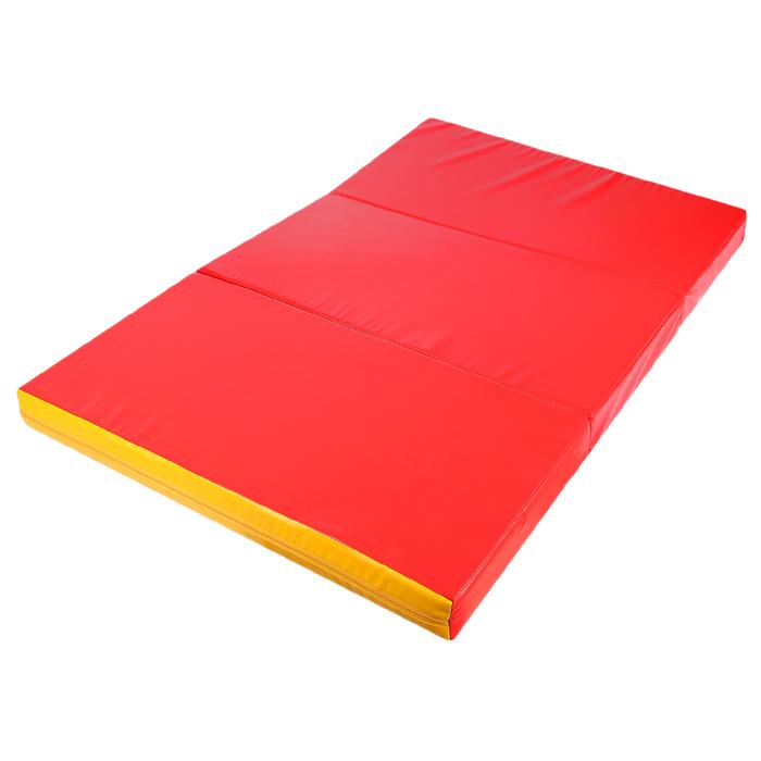 Мат 100x150x10 см, 2 сложения, винилискожа, цвет красный/жёлтый