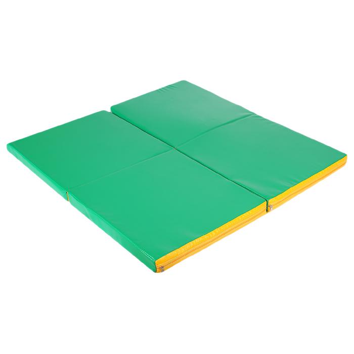 Мат 100 х 100 х 5 см, 4 сложения, винилискожа, цвет зелёный/жёлтый