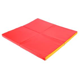 Мат 100 х 100 х 5 см, 4 сложения, винилискожа, цвет красный/жёлтый