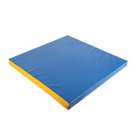 Мат 100 х 100 х 8 см, винилискожа, цвет синий/жёлтый