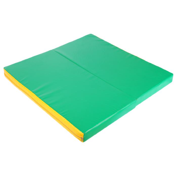 Мат 100 х 100 х 8 см, 1 сложение, винилискожа, цвет зелёный/жёлтый