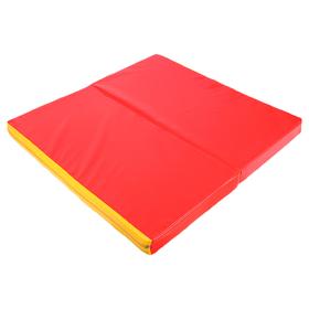 Мат 100 х 100 х 8 см, 1 сложение, винилискожа, цвет красный/жёлтый