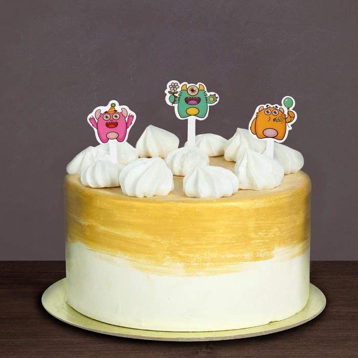 """Топпер в торт """"Весёлые монстрики"""", набор 10 шт."""