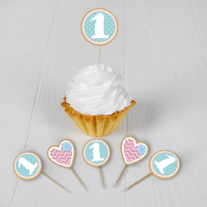 Набор для украшения праздника «Малышка 1 годик», наклейки, 12 шпажек - фото 105519882