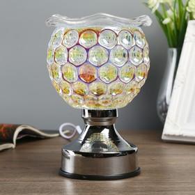 """Аромасветильник стекло сенсор """"Перламутровый шар. Листья"""" лампа G4 220В 16,5х11х11 см"""