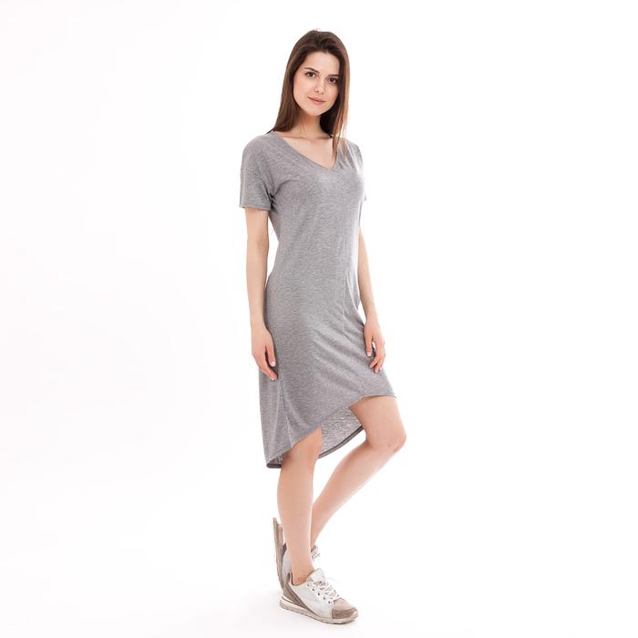 Платье женское 2121-20 (152285) цвет серый меланж, р-р 46 (M)