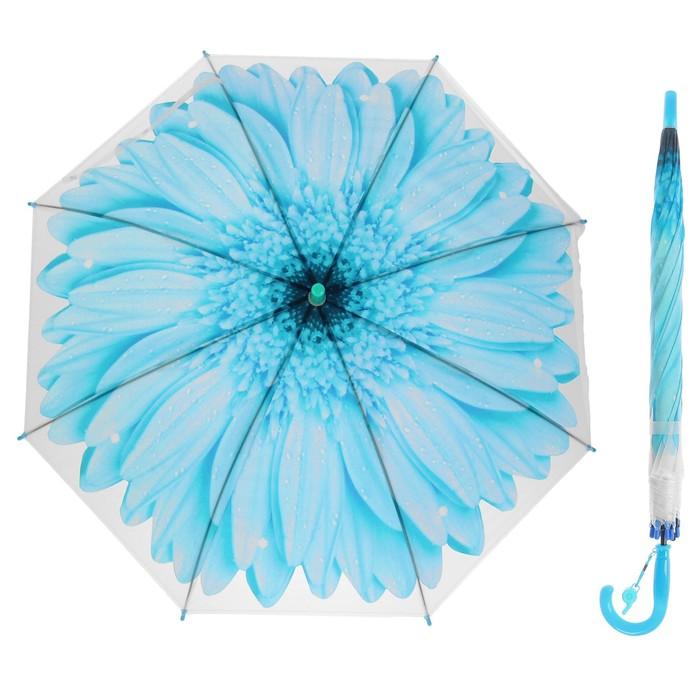 """Зонт-трость """"Гербера"""", полуавтоматический, со свистком, R=41см, цвет голубой"""