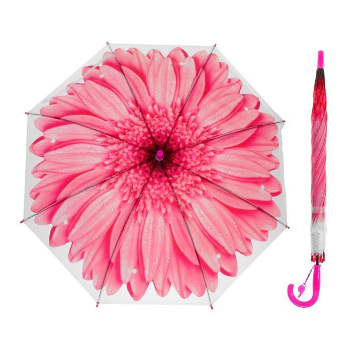 Зонт-трость «Гербера», полуавтоматический, со свистком, R=41см, цвет розовый