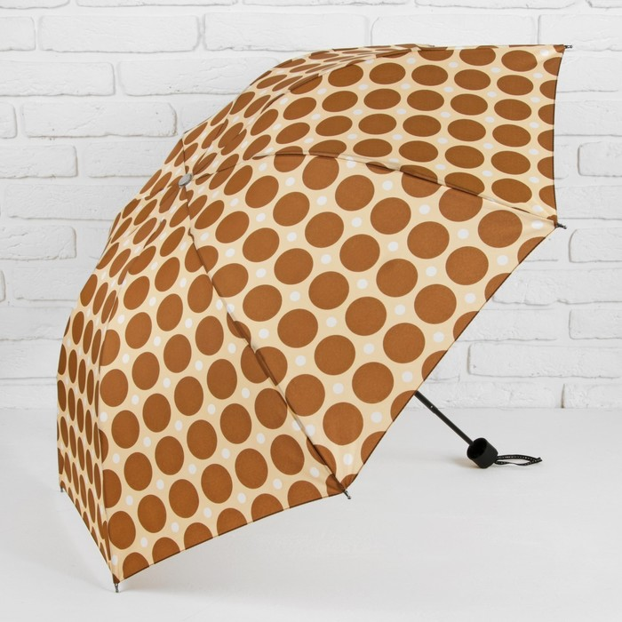 Зонт механический «Горох крупный», 3 сложения, 8 спиц, R = 49 см, цвет коричневый