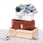 Набор деревянных ящиков 3 в 1 с шильдиком (малый белый)