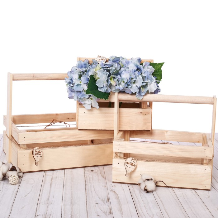 Набор деревянных ящиков 3 в 1 с шильдиком и ручкой «Счастливых дней», 31 × 21 × 26 см
