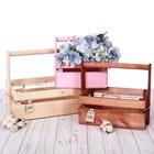 Набор деревянных ящиков реечный 3 в 1 с шильдиком и ручкой With love, 31,5 × 21,5 × 26 см - фото 813012
