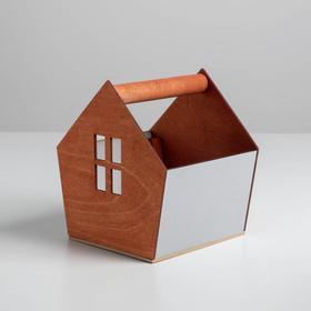 Деревянный ящик-домик, серо‒коричневый, 15 × 16.5 × 18.5 см