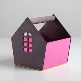 Деревянный ящик‒домик серо‒бордовый, 15 × 16.5 × 18.5 см