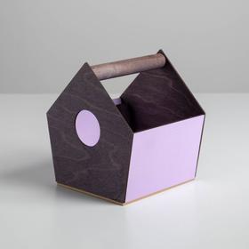 Деревянный ящик‒домик серо‒сиреневый, 15 × 16.5 × 18.5 см