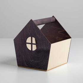 Деревянный ящик‒домик серо‒кремовый, 15 × 16.5 × 18.5 см