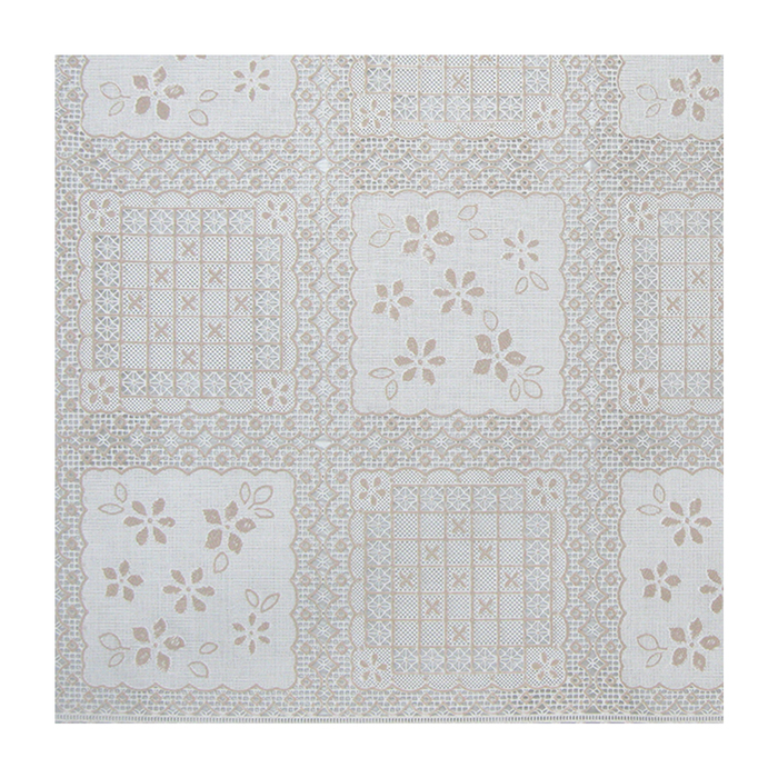 Клеёнка столовая «Ажурная», 138 см, 15 пог. м., цвет бежевый/белый - фото 8442770