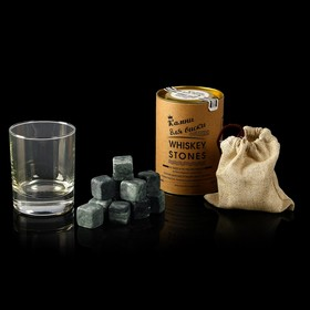 """A set of """"Whisky Stones"""", 12 PCs in a tube + glass"""