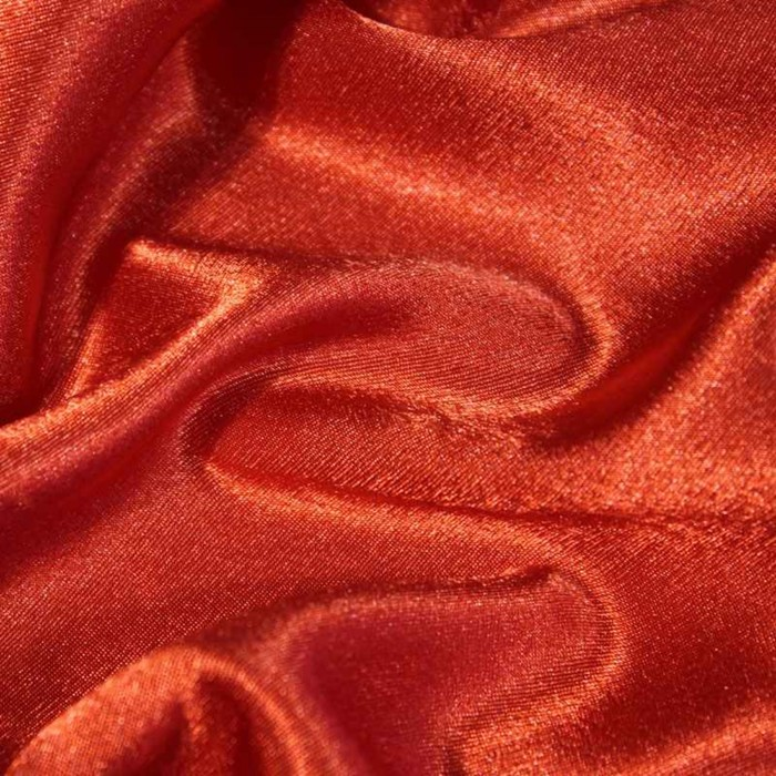Ткань плательная-Креп сатин, ширина 150 см, цвет алый, 210 г/п.м.