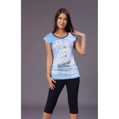 """Комплект женский (футболка, бриджи) """"Парусник"""" цвет голубой, р-р 58, рост 164"""