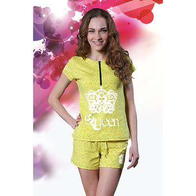 """Комплект женский (футболка, шорты) """"Queen"""" цвет желтый, р-р 48, рост 164"""