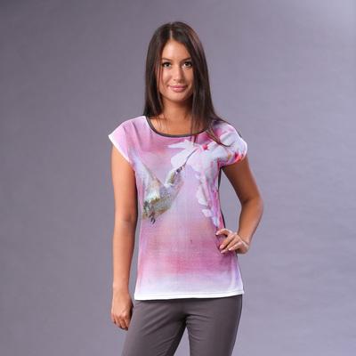 """Комплект женский (футболка, бриджи) """"Колибри"""" цвет розовый, р-р 46, рост 164"""