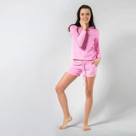 Домашний комплект женский (толстовка и шорты) MINAKU, размер 48, цвет розовый