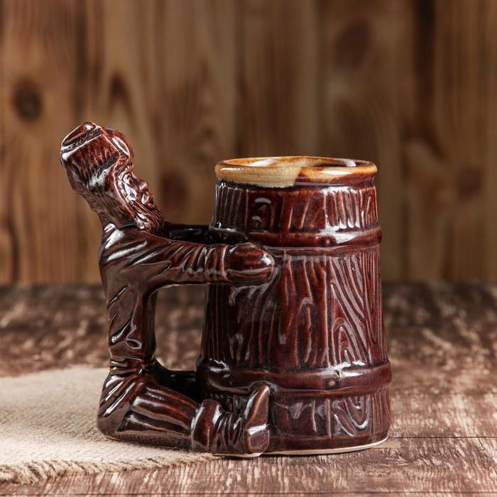 """Бокал """"Мужичок"""", коричневый, керамика, 0.4 л"""