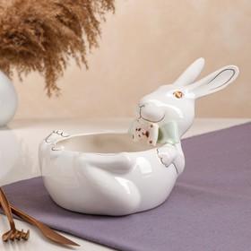 """Конфетница """"Кролик"""", цветная лепка, цвет белый, роспись золотистая, 15.5 см, микс"""