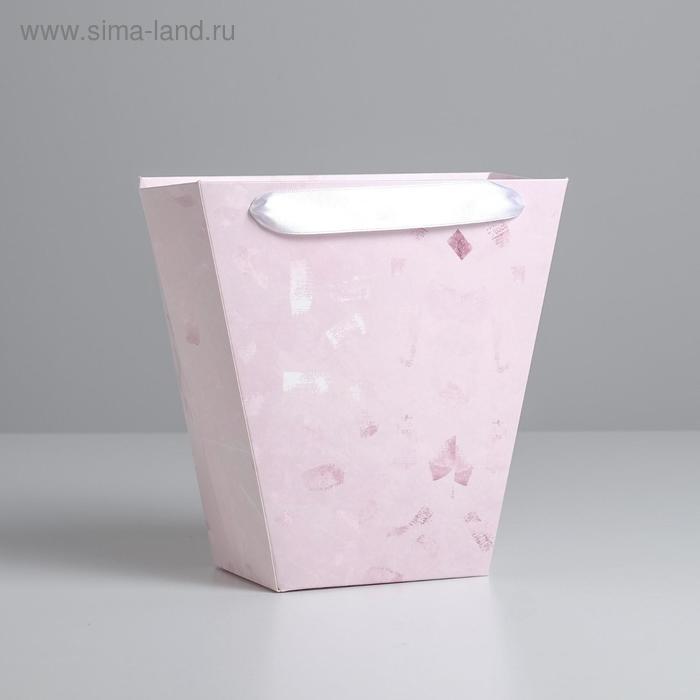 Пакет трапеция «Розовые мазки», 23 х 23 см
