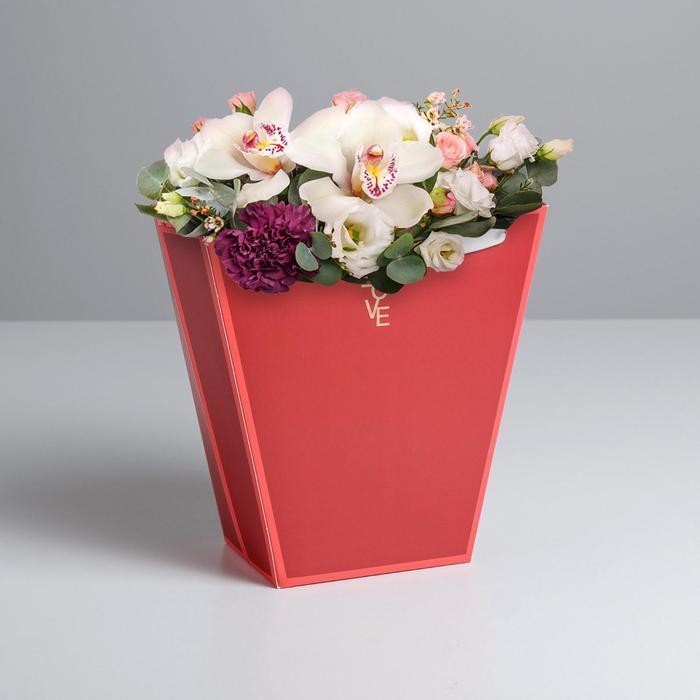 Пакет для цветов трапеция «Красный», 23 × 23 × 10 см - фото 8442879