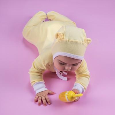 Чепчик (2 шт.) детский, рост 62 см, цвет жёлтый+белый 90014