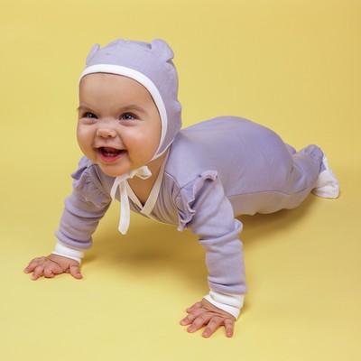 Чепчик (2 шт.) детский, рост 68 см, цвет фиолетовый+белый 90015