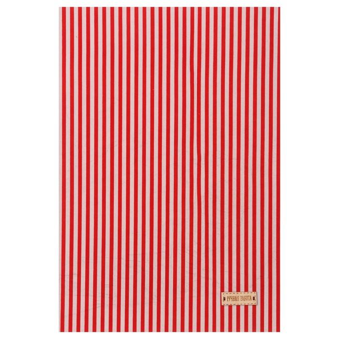Ткань на клеевой основе «Красные полоски», 21 х 30 см