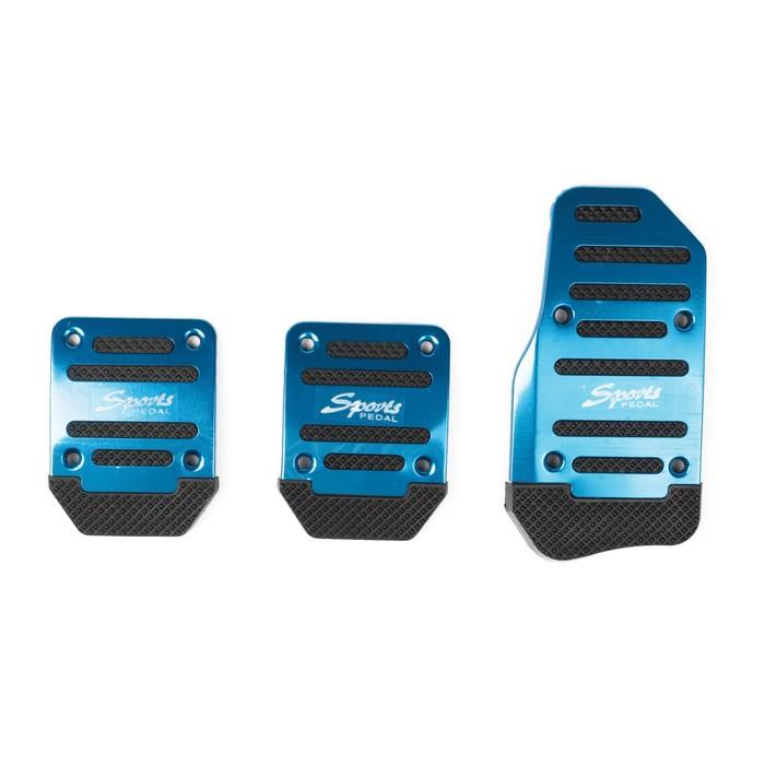 Накладки на педали TORSO, Sports, антискользящие, синий, набор 3 шт.