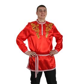 """Рубаха русская мужская """"Хохлома. Цветы"""", атлас, р-р 52-54, цвет красный"""