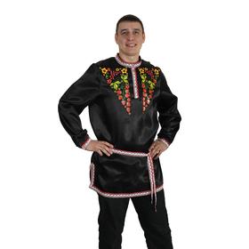 """Рубаха русская мужская """"Хохлома. Ягоды"""", атлас, р-р 56-58, цвет чёрный"""