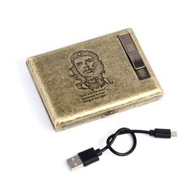 """Портсигар с электронной зажигалкой """"Чегевара"""", от USB, золотой, 14х13.5 см в Донецке"""