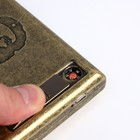 Cigarette case with electronic lighter Che Guevara, USB, gold, 14х13.5 cm