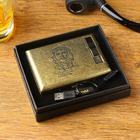 Cigarette case with electronic lighter Che Guevara, USB, gold, 14х13.5 cm