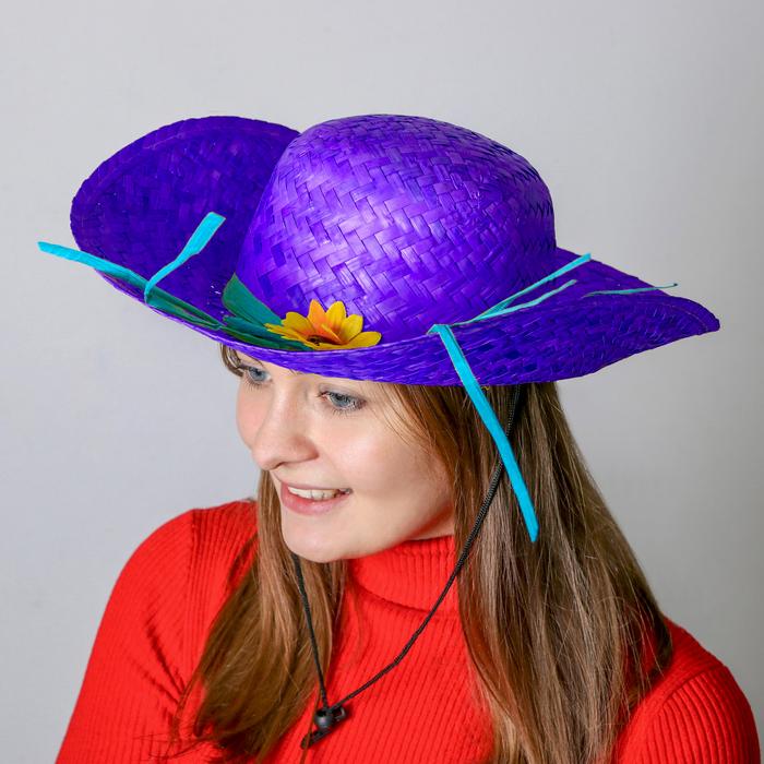 Карнавальная шляпа «Кокетка», с цветком, цвет синий