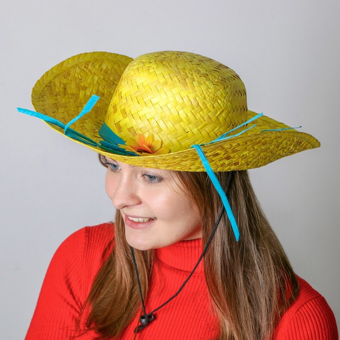 Карнавальная шляпа «Кокетка», с цветком, цвет жёлтый - фото 1920266