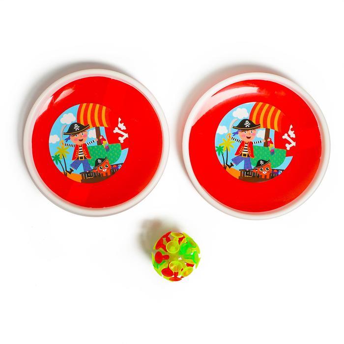 Игра-липучка «На абордаж», набор: 2 тарелки 18 см, шарик, цвета МИКС