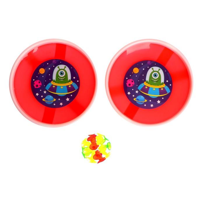 Игра-липучка «Монстрик», набор: 2 тарелки 18 см, шарик, цвета МИКС