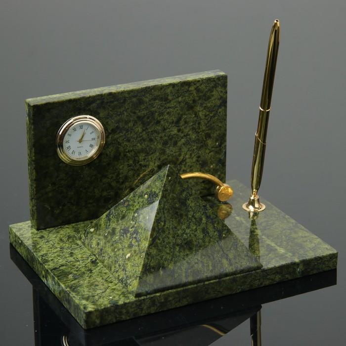 Набор письменный «Пирамида»: визитница, часы, ручка